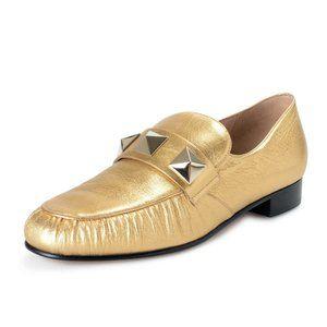 Valentino Garavani Women's Gold Leather Loafers